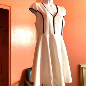 A-Line White & Blue Dress Casual Fitted Stretch